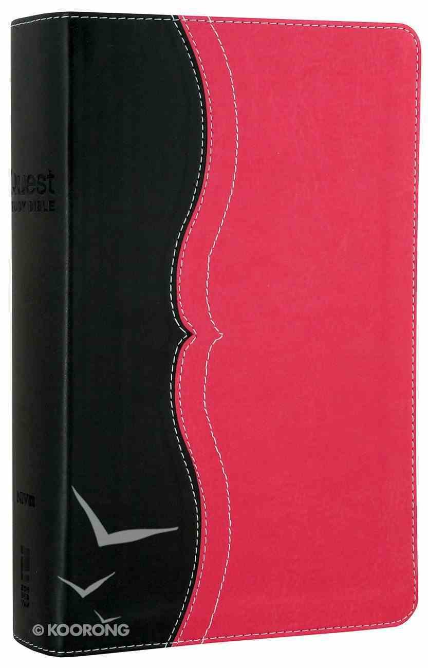 NIV Quest Personal Size Study Bible Charcoal/Pink (Black Letter Edition) Premium Imitation Leather