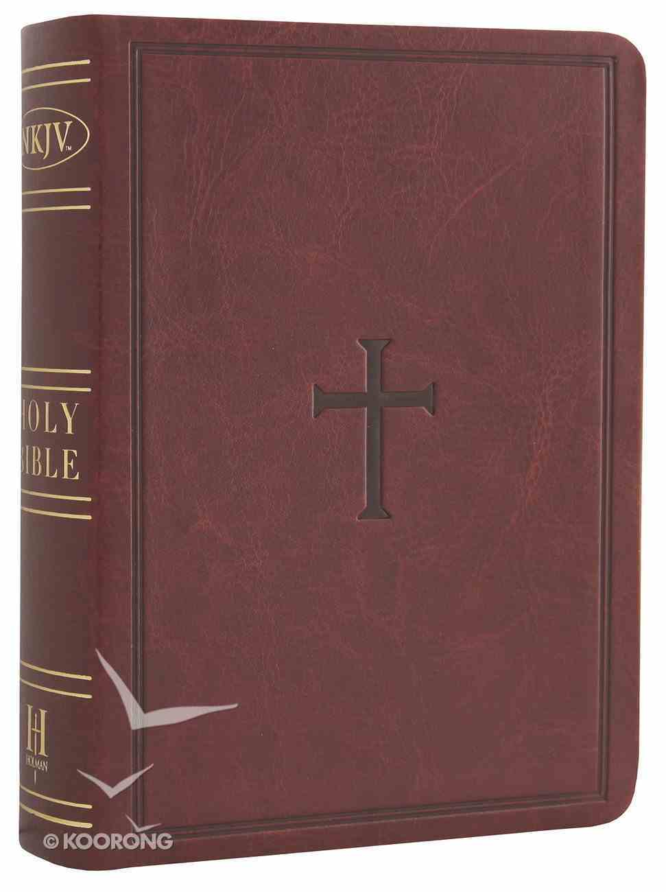NKJV Large Print Compact Reference Bible Brown (Red Letter Edition) Premium Imitation Leather