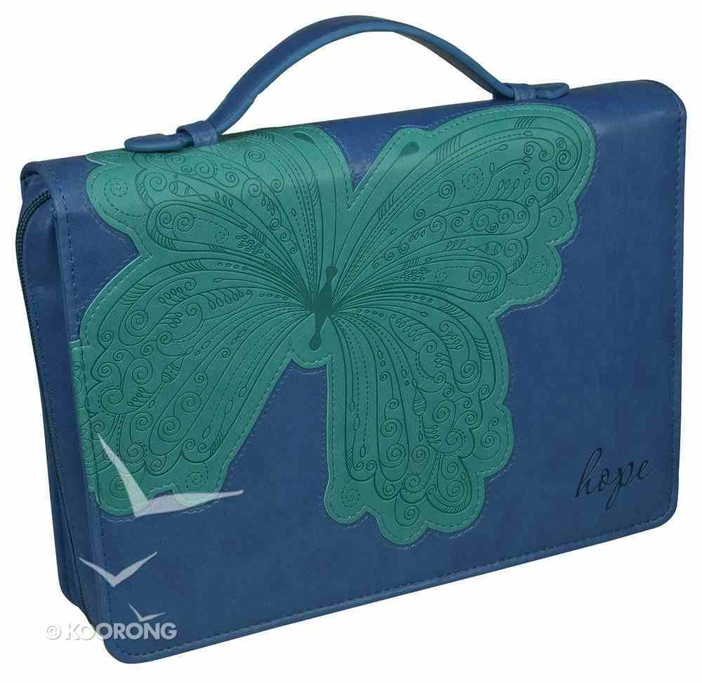 Bible Cover Hope Blue/Green Butterfly Large Fashion Trendy Luxleather Imitation Leather