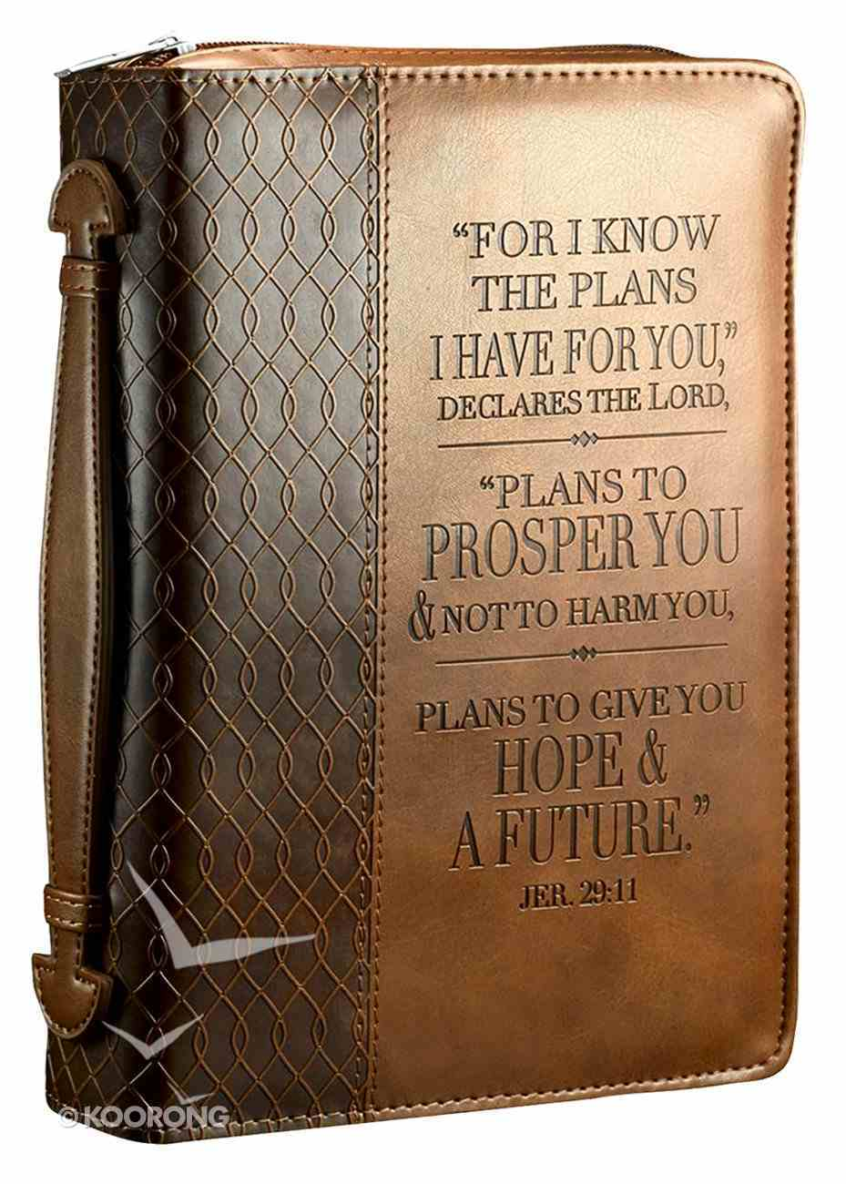 Bible Cover Medium For I Know the Plans I Have For You Jer. 29: 11 Brown Luxleather Imitation Leather