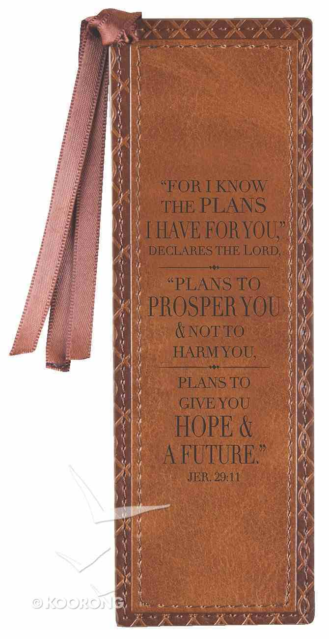 Bookmark: For I Know the Plans I Have For You Brown Lux-Leather Imitation Leather