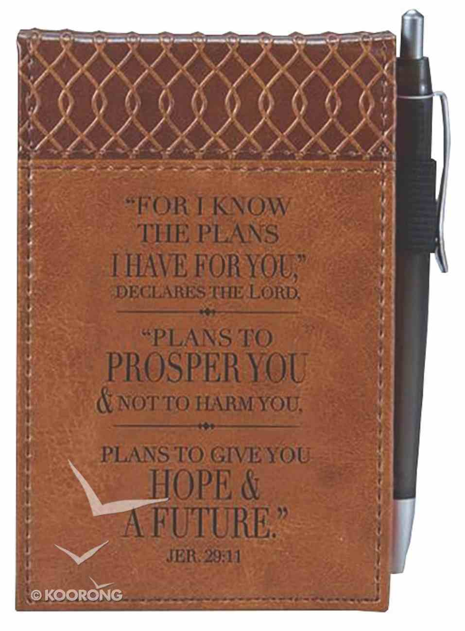 Pocket Notepad With Pen: For I Know the Plans... Brown Luxleather Imitation Leather