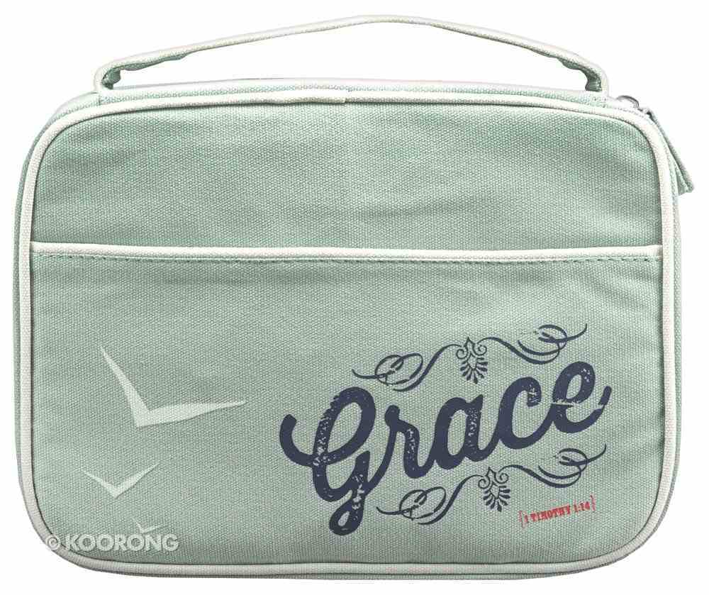 Bible Cover Canvas Grace Gray Blue Large - 1 Tim 1: 14 Bible Cover