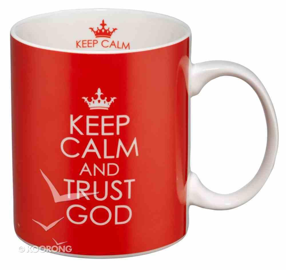 Inspirational Ceramic Mug: Keep Calm and Trust God (Red/white) Homeware