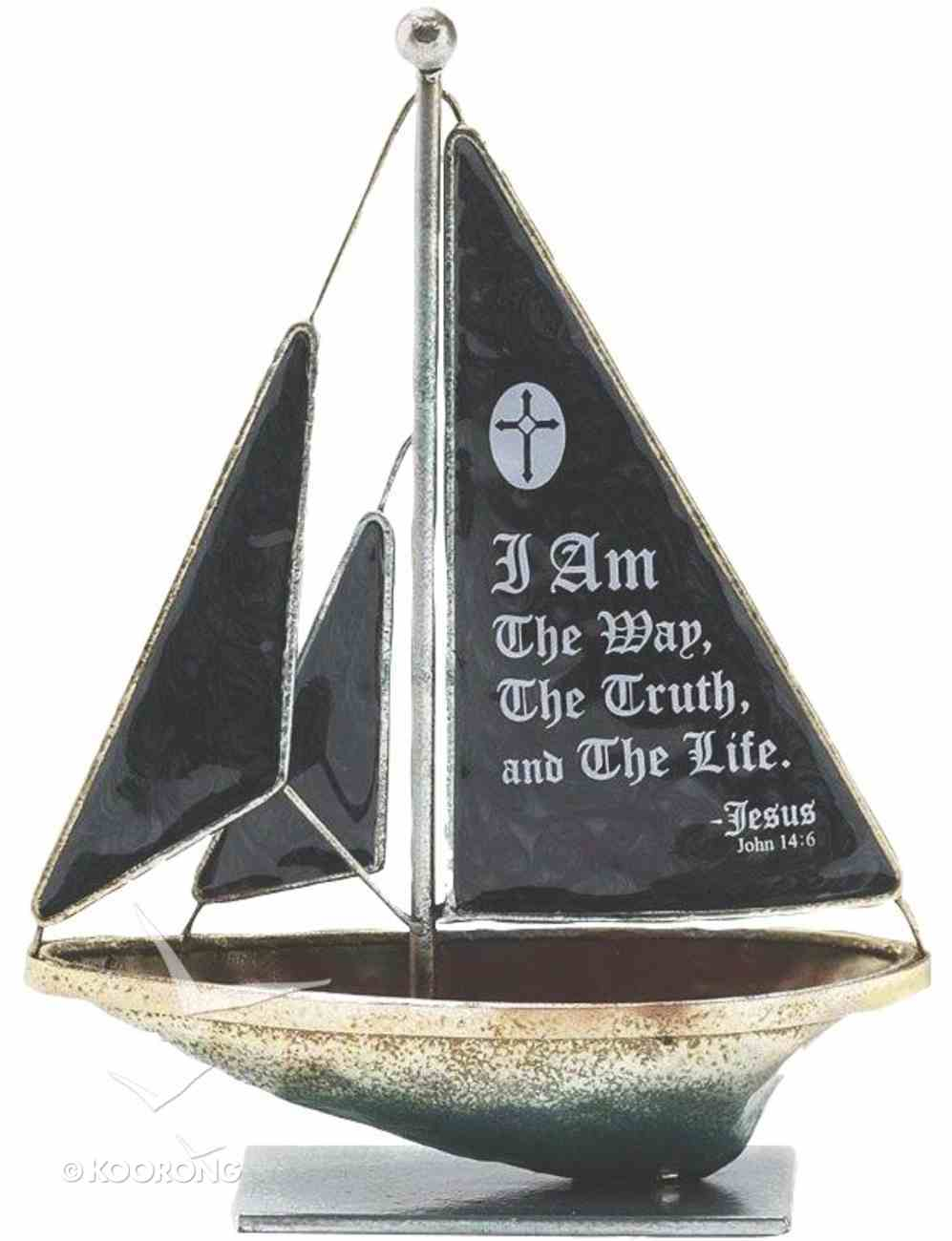 Sailboat Metal: I Am the Way.. John 14:6 (Black) Homeware