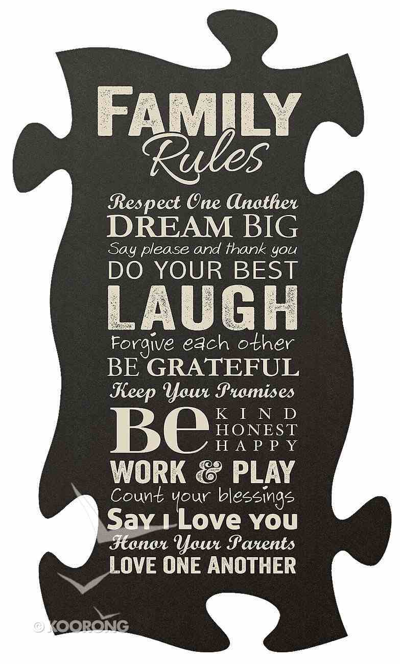 Puzzle Pieces Wall Art: Family Rules Plaque
