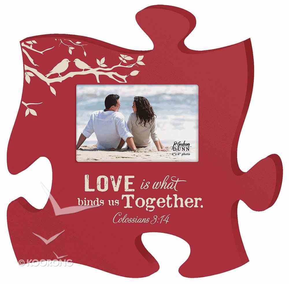 Puzzle Pieces Wall Art: Love - Colossians 3:14 (Holds 4x6 Photo) Plaque