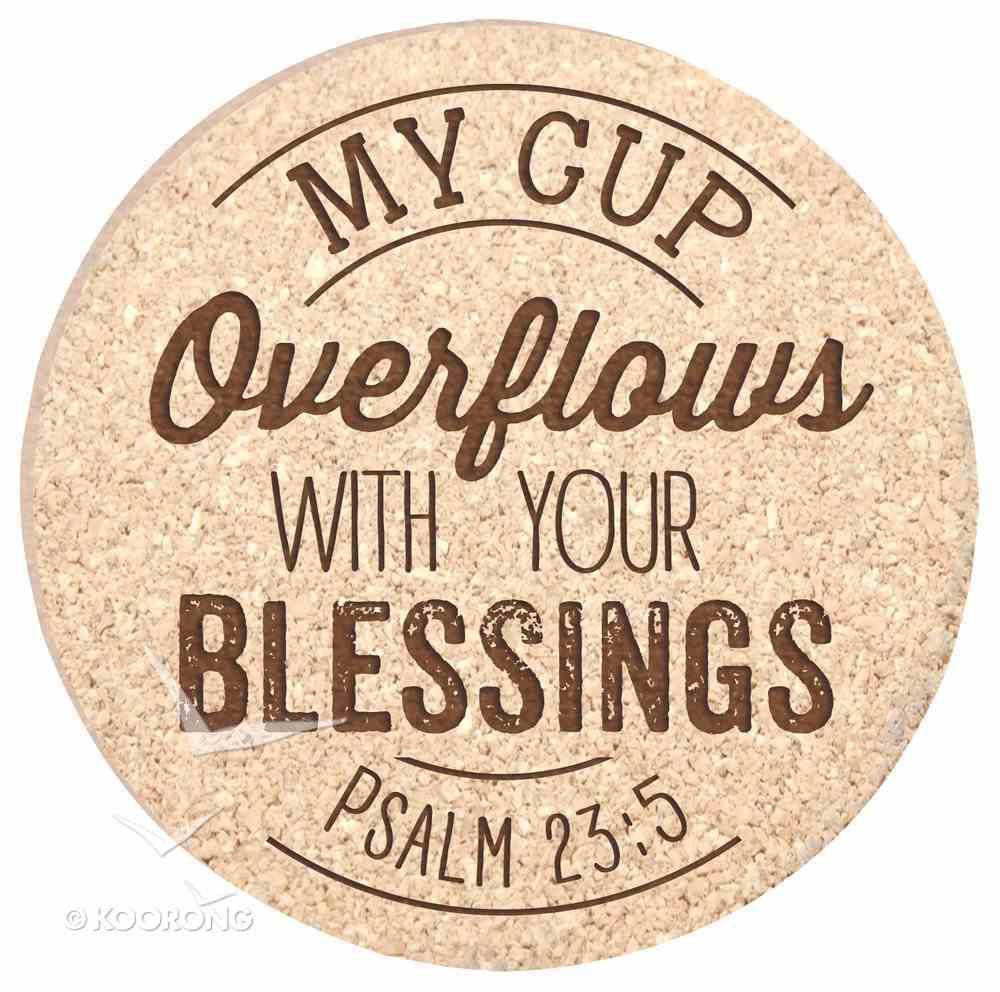 Cork Coaster Set of 4: My Cup Overflows, Psalm 23:5 Homeware