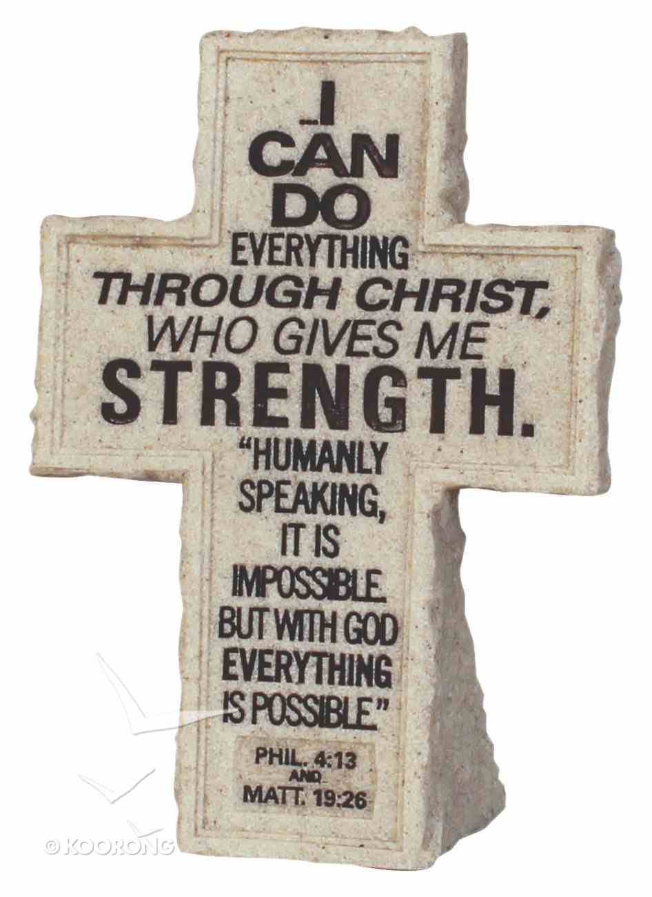 Cross Tabletop: Cornerstone: I Can Do All Things (Phil 4:13 & Matt 19:26) Homeware