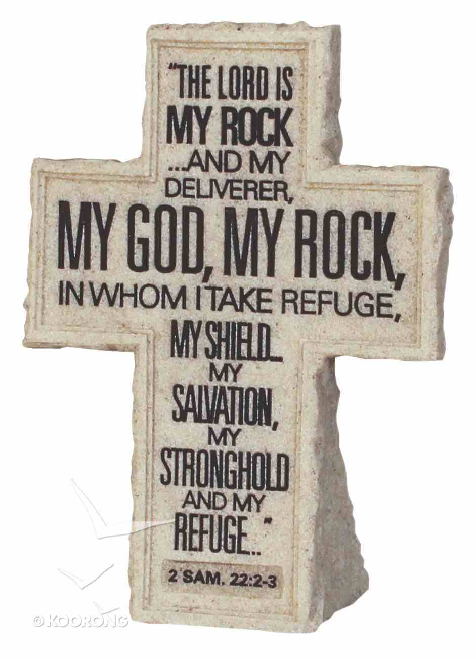 Cross Tabletop: Cornerstone: The Lord is My Rock (2 Samuel 22:2-3) Homeware