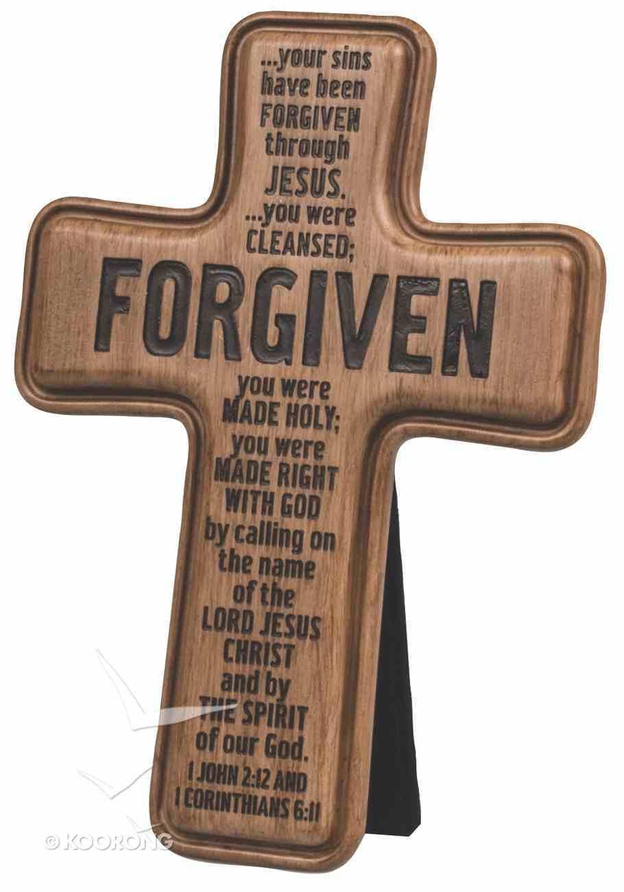 Cross: Wood Look Cast Stone: Forgiven Plaque