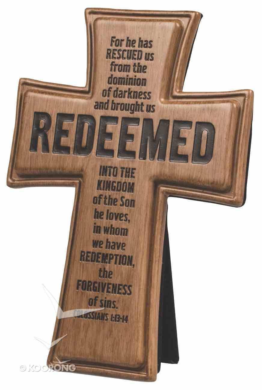 Cross: Wood Look Cast Stone: Redeemed Plaque