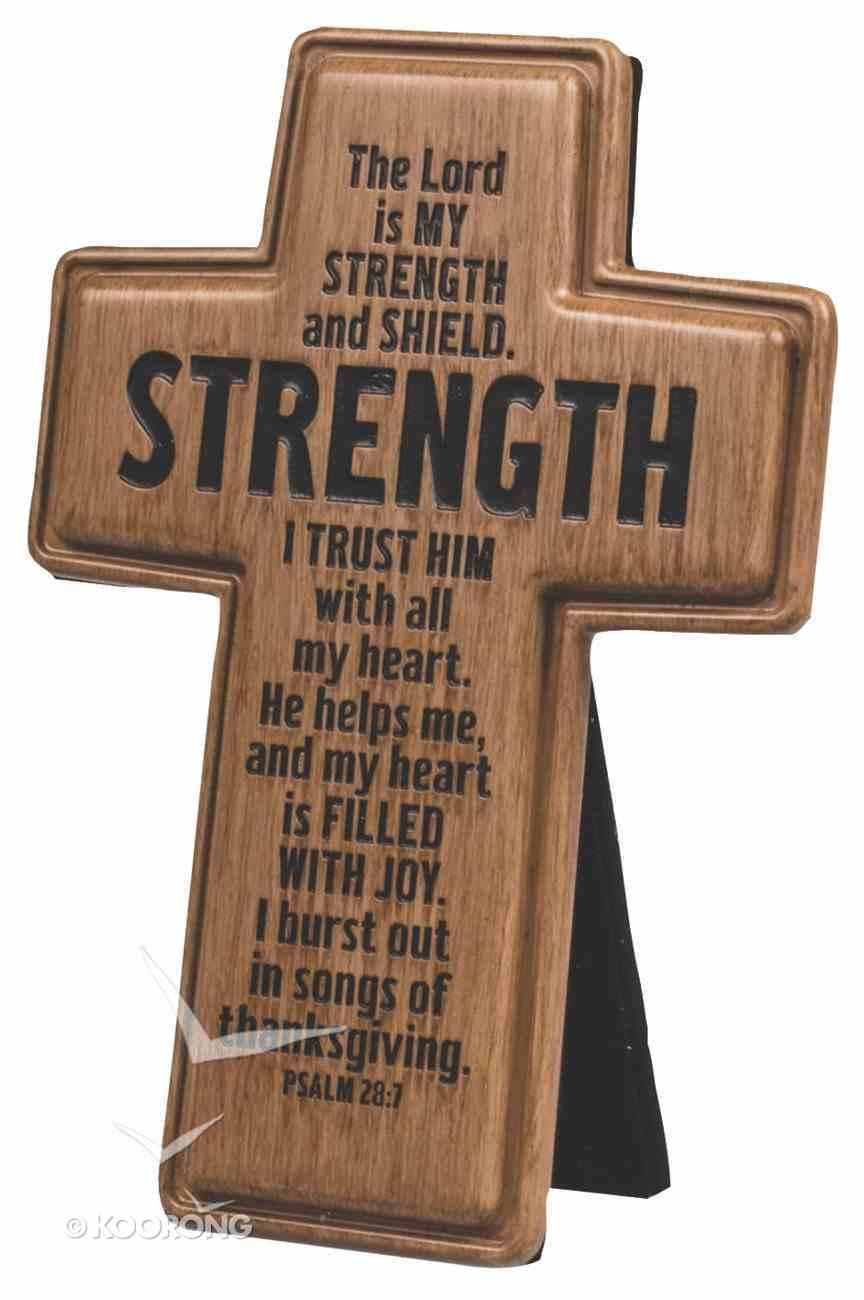 Cross: Wood Look Cast Stone: Strength Plaque
