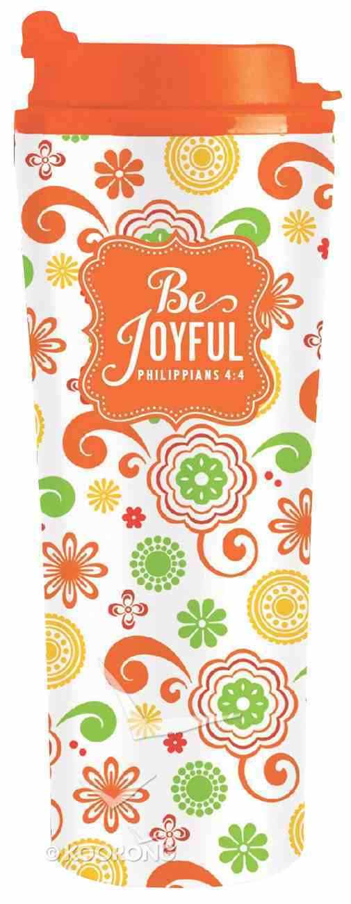 Be Series: Metal Tumbler Mug - Be Joyful (Orange Floral) Homeware