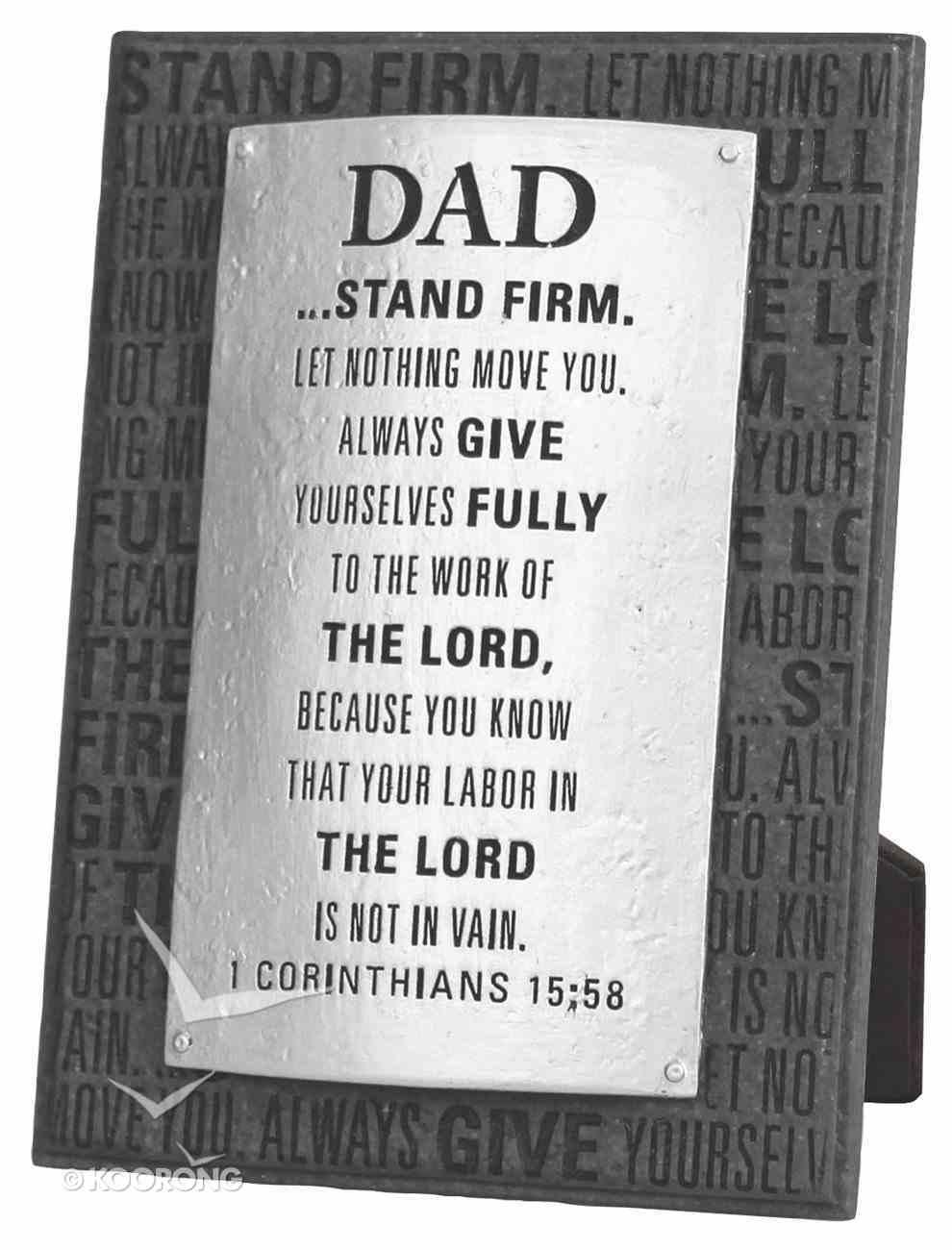Badge of Faith Cast Stone Plaque: Dad Plaque