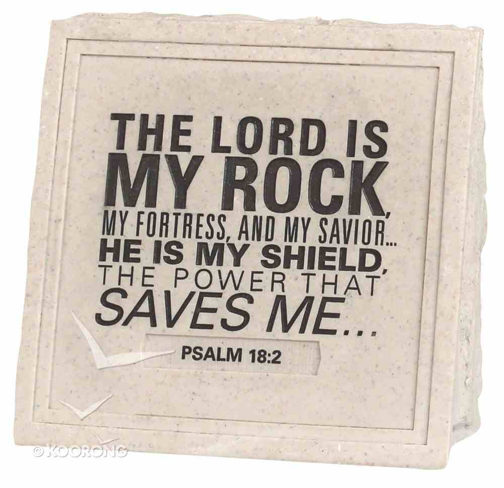 Stone Wedge Cast Stone Plaque: Lord is My Rock Plaque