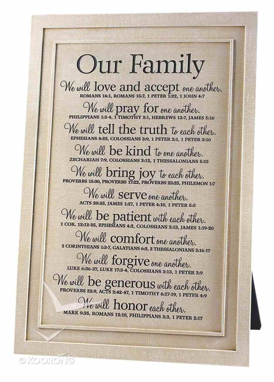 Our Family Plaque: Various Scriptures Homeware