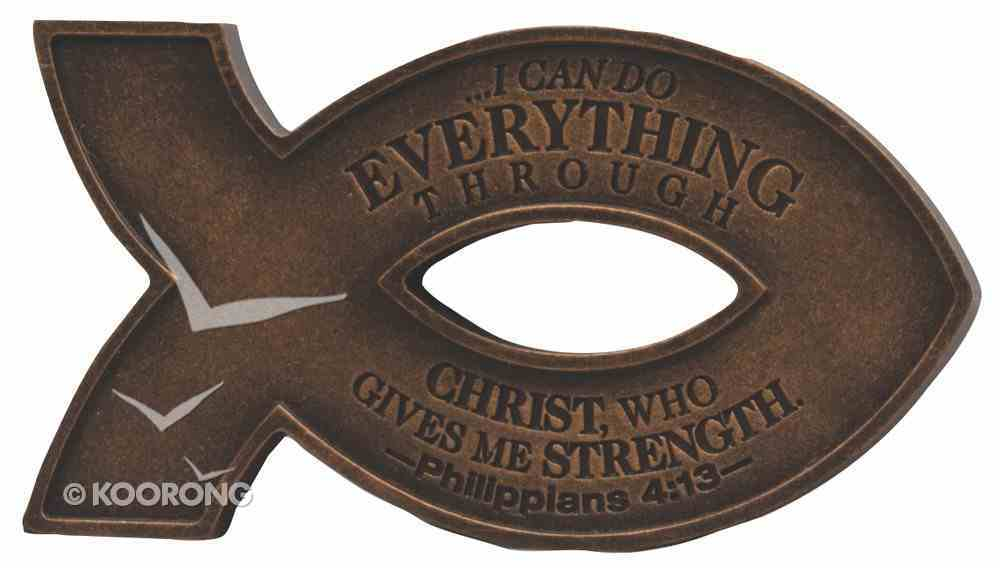Cast Stone Fish Magnet: Copper Finish, I Can Do All Things Through Christ Novelty