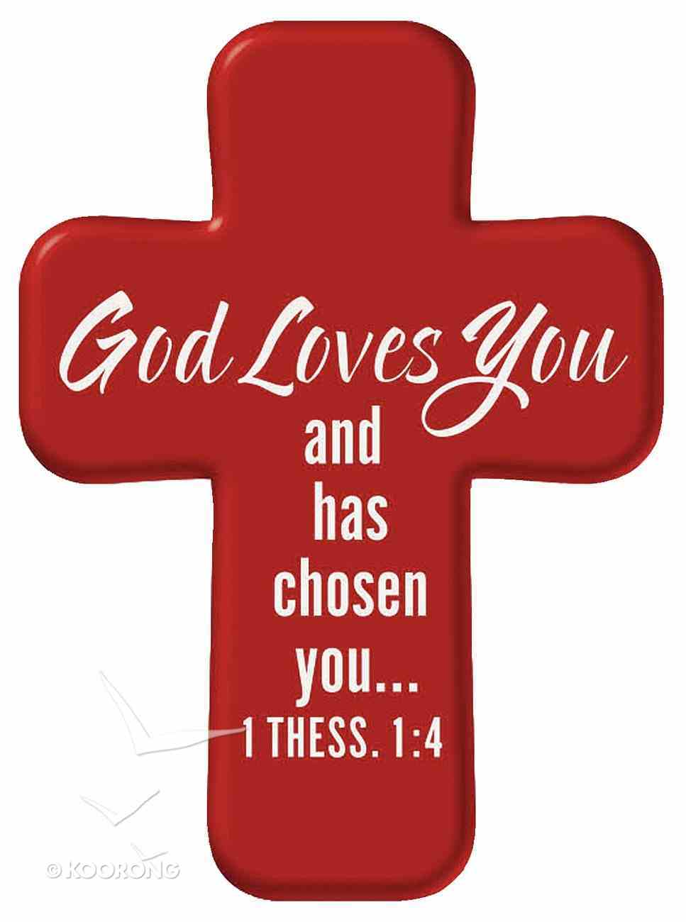 Squeezable Foam Rubber Pocket Cross With Card: God Love You (Red) Homeware