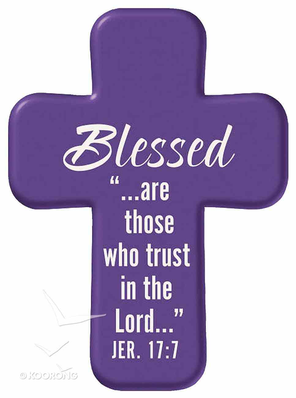 Squeezable Foam Rubber Pocket Cross With Card: Blessed (Purple) Homeware
