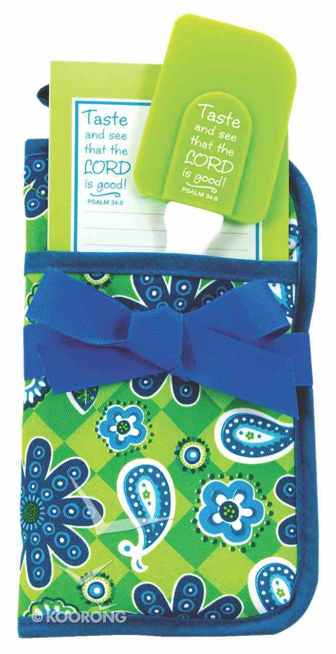 Pot Holder Gift Set: Blue & Green Floral, Psalm 34:8 Taste and See That the Lord is Good! Homeware