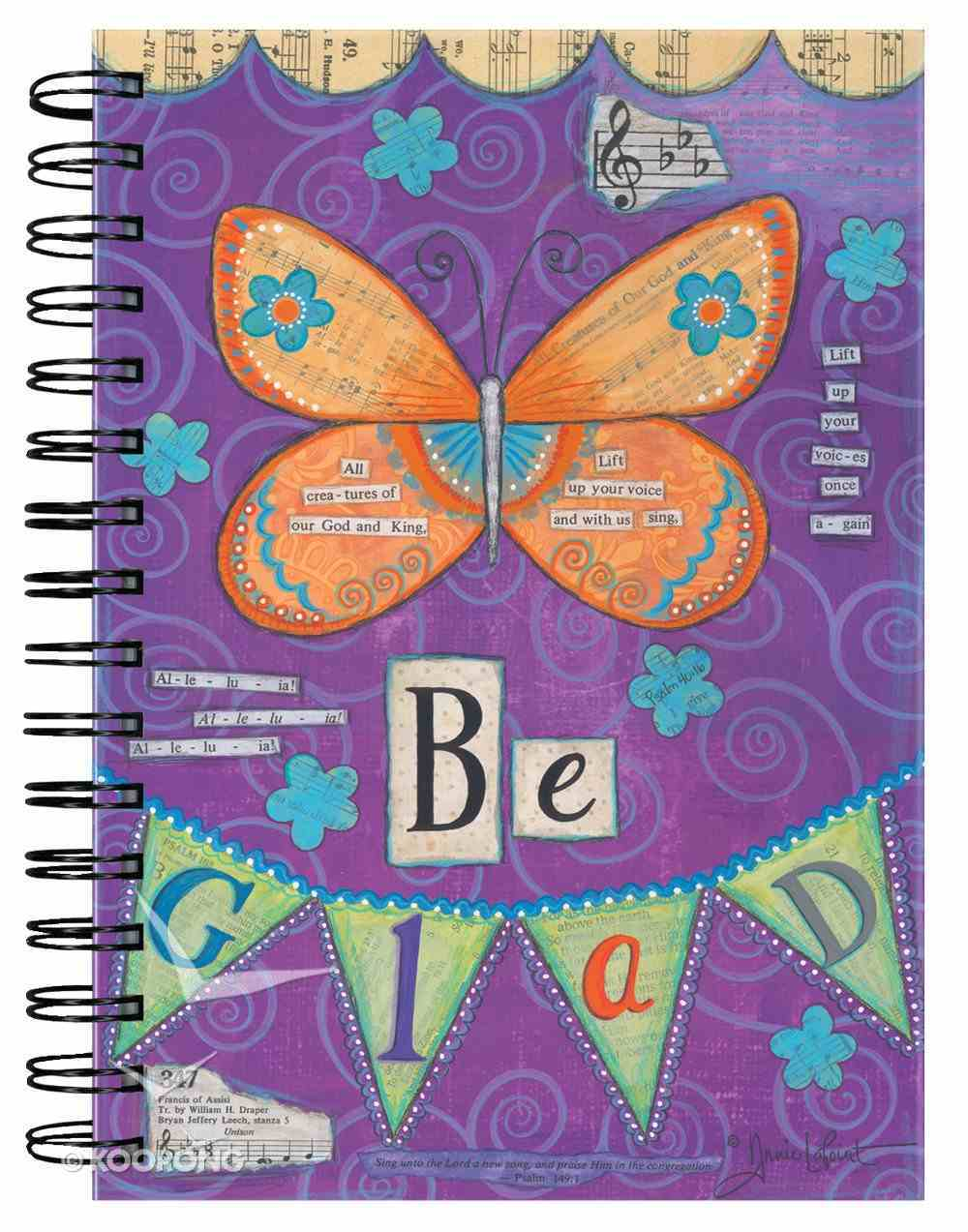 Spiral Journal: Be Glad Butterfly Purple Spiral