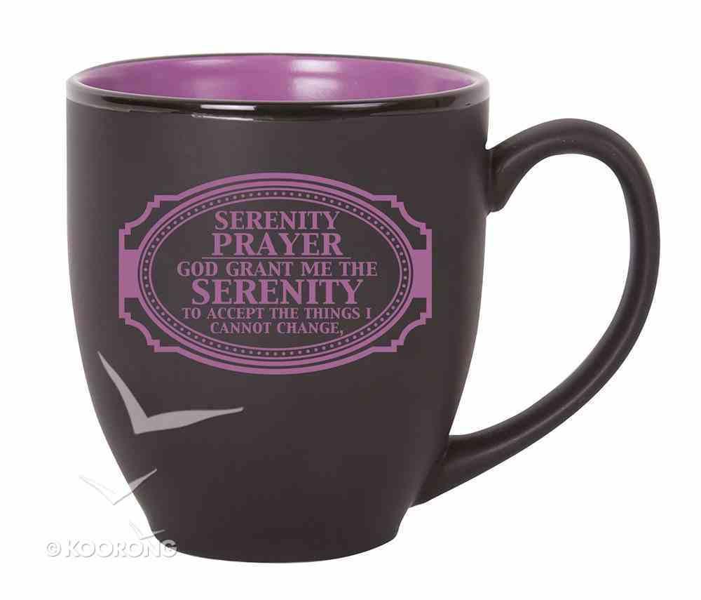 Bistro Mug: Serenity Prayer, Black With Purple Homeware