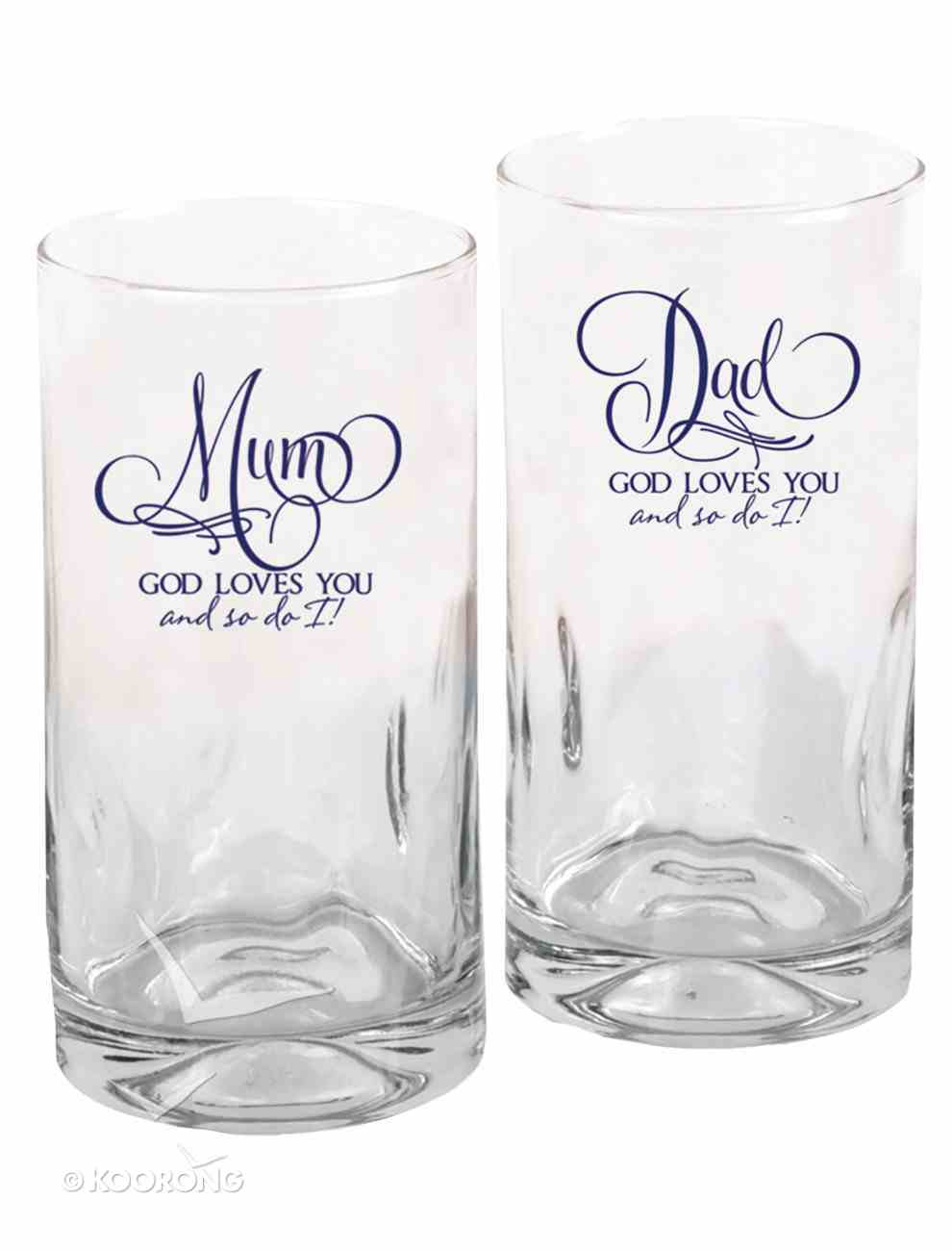 Set of 2 Glass Tumblers: Mum & Dad, God Loves You and So Do I Homeware