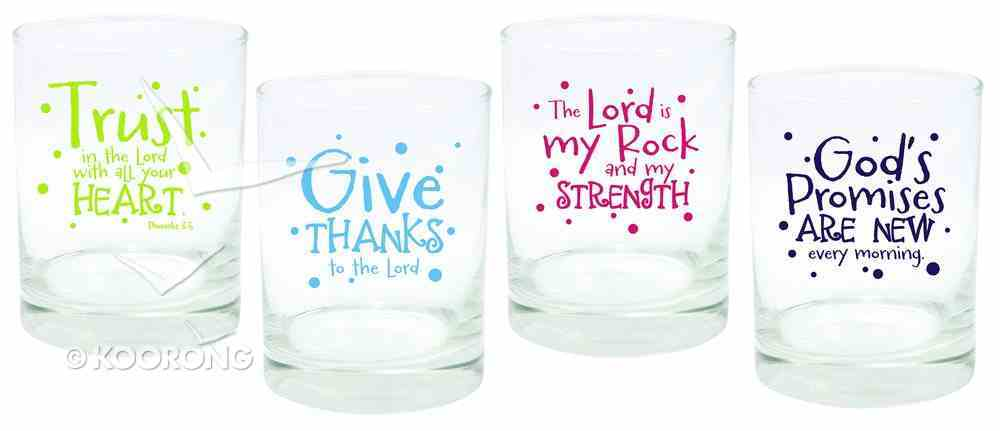 Set of 4 Glass Juice Glasses: Trust, Give Thanks, the Lord & God's Promises Homeware