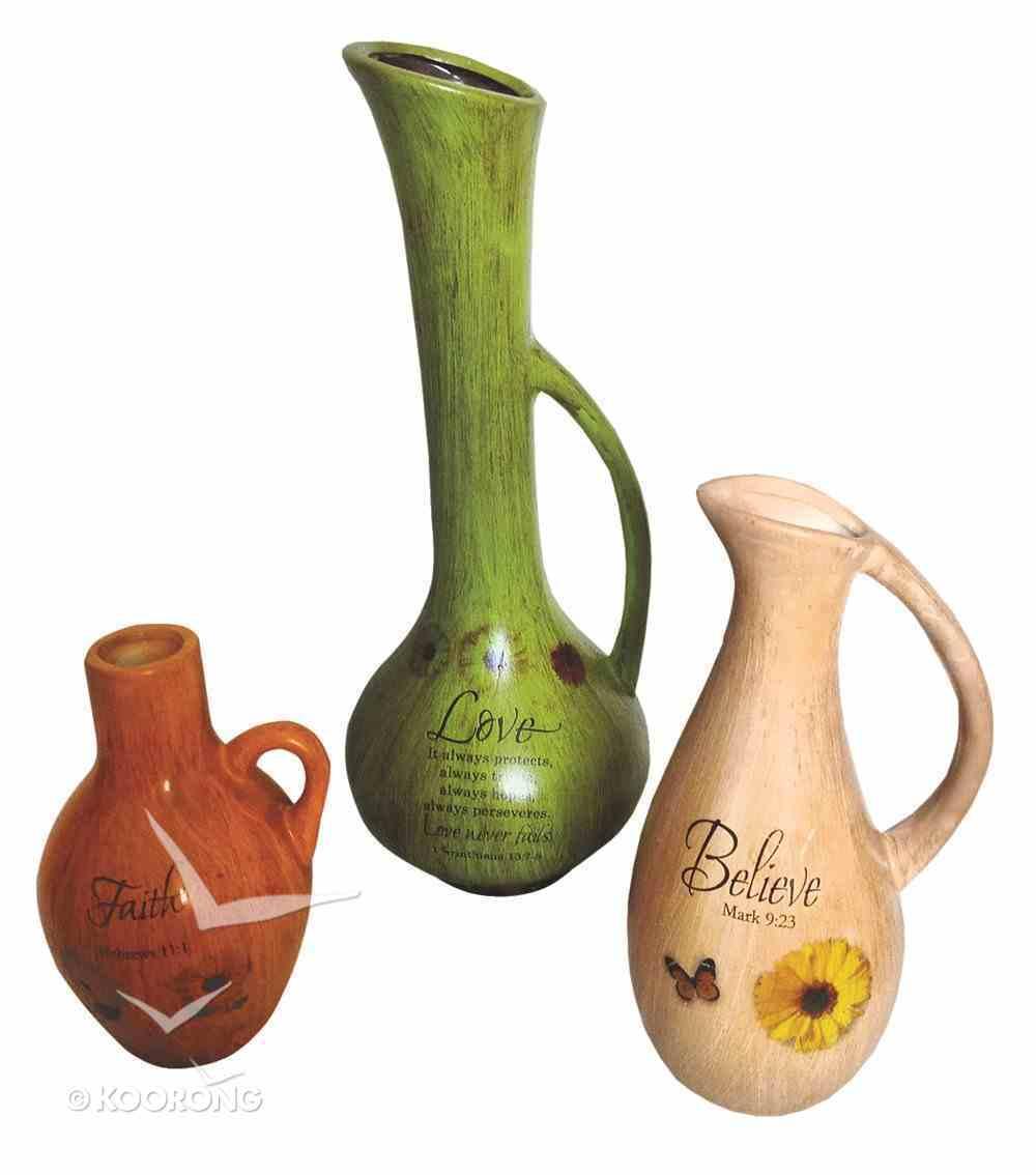 Ceramic Vase Set of 3: Believe, Faith, Love Homeware