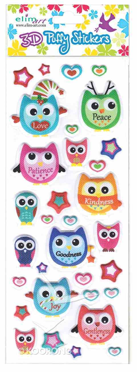 Puffy Stickers: Owls (1 Sheet Per Pack) Novelty