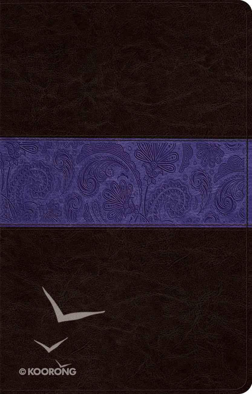 ESV Large Print Thinline Reference Bible Trutone Brown/Plum Paisley Design Imitation Leather