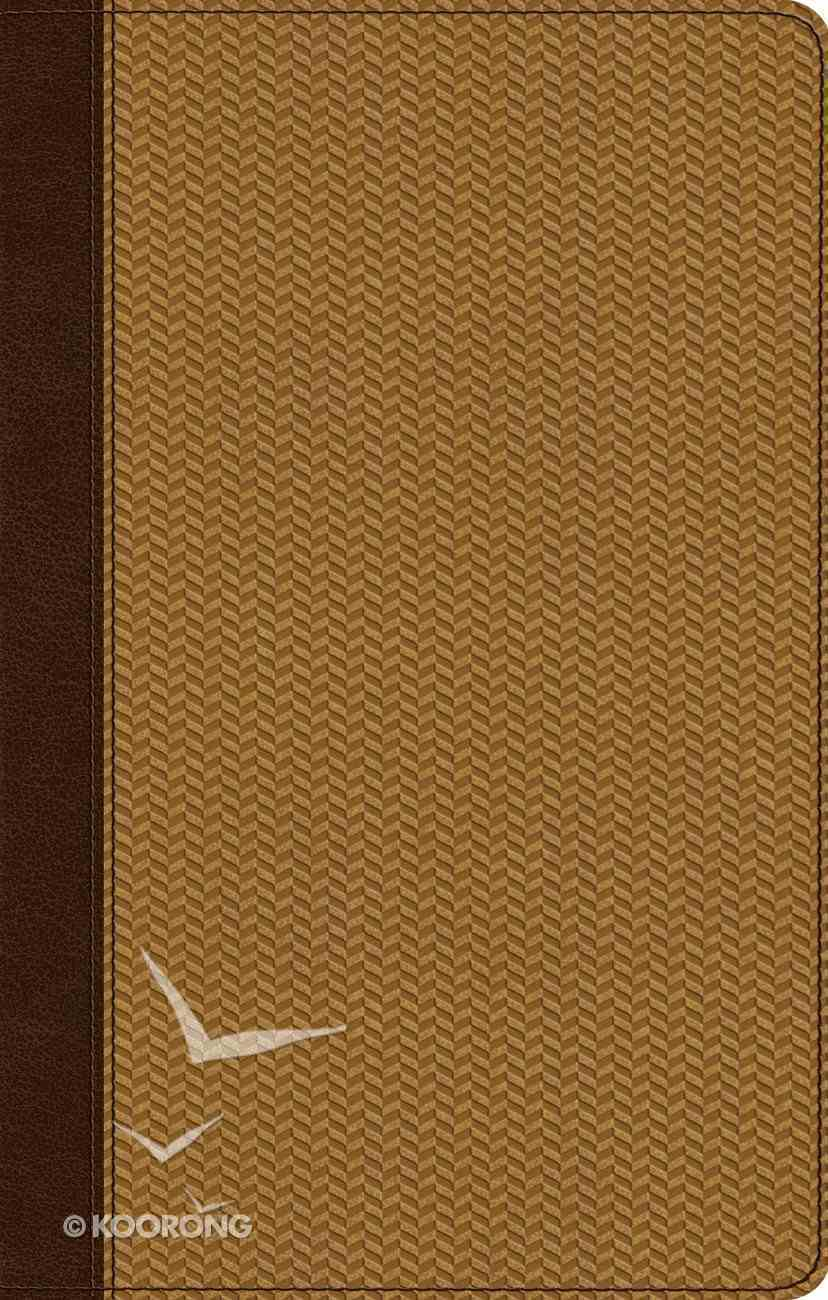 ESV Ultrathin Bible Trutone Brown/Goldenrod Herringbone Design Imitation Leather