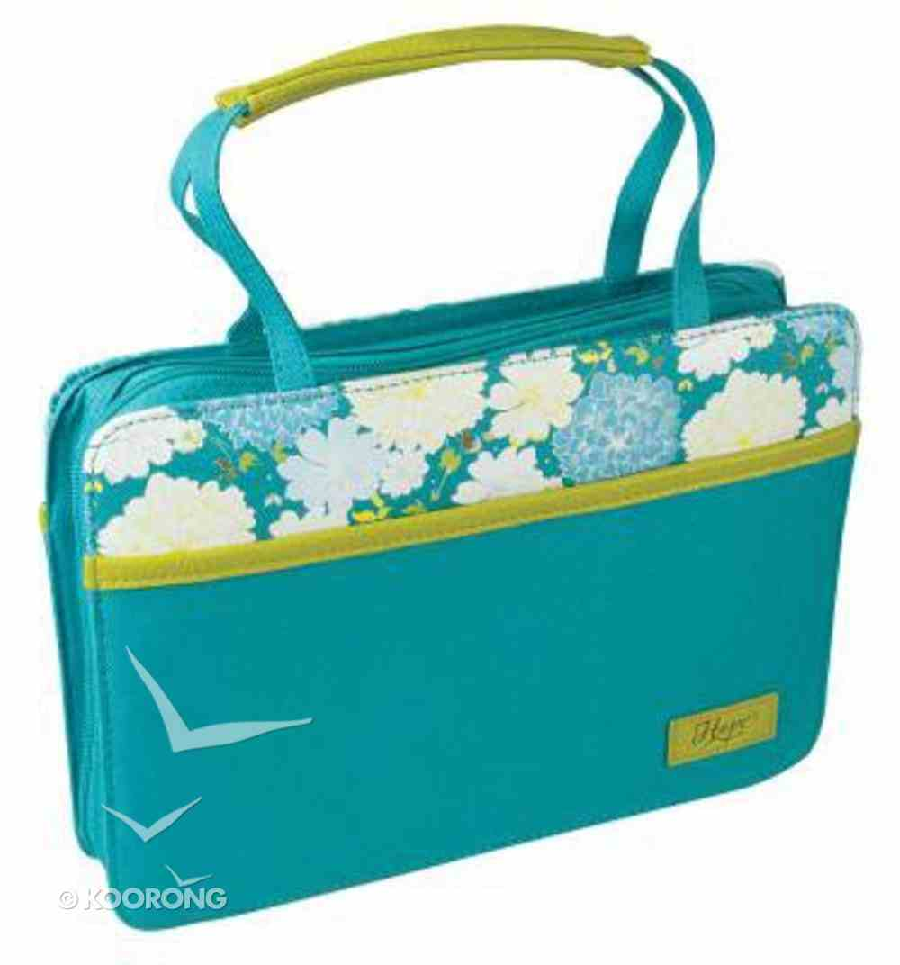 Bible Cover Canvas Purse-Style: Blue Flowers Hope Large Bible Cover
