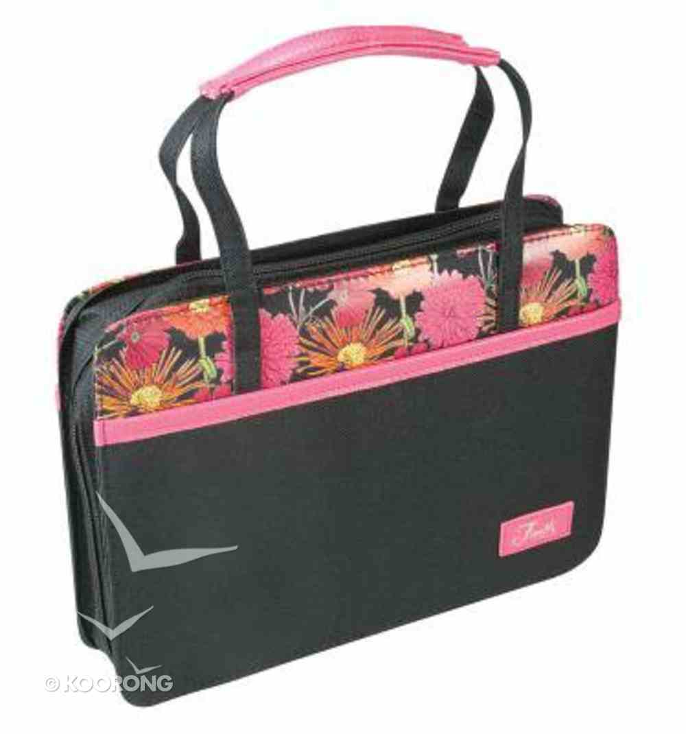 Bible Cover Canvas Purse-Style Medium: Pink Flowers Faith Bible Cover