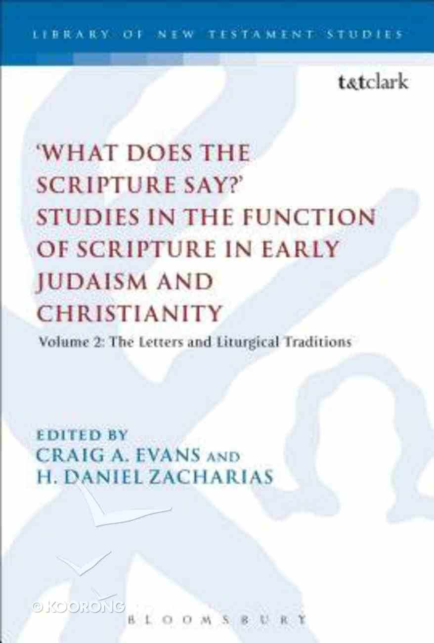 'What Does the Scripture Say?' Studies in the Function of Scripture in Early Judaism and Christianit (Volume 2) (Library Of New Testament Studies Series) Paperback