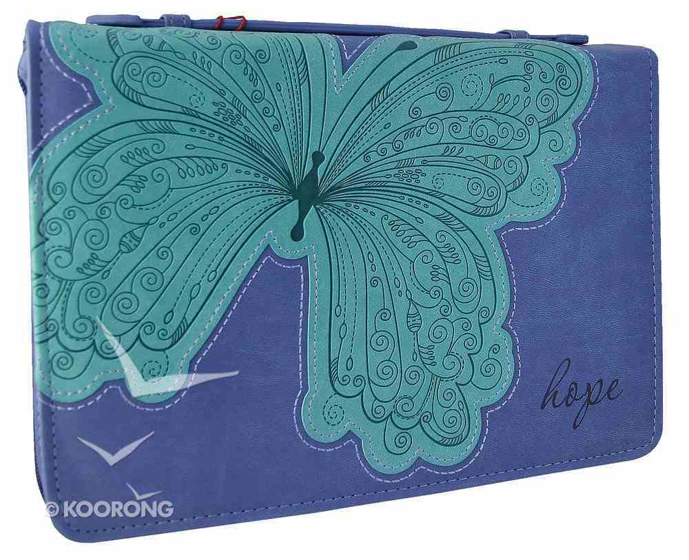 Bible Cover Hope Blue/Green Butterfly Medium Fashion Trendy Luxleather Imitation Leather