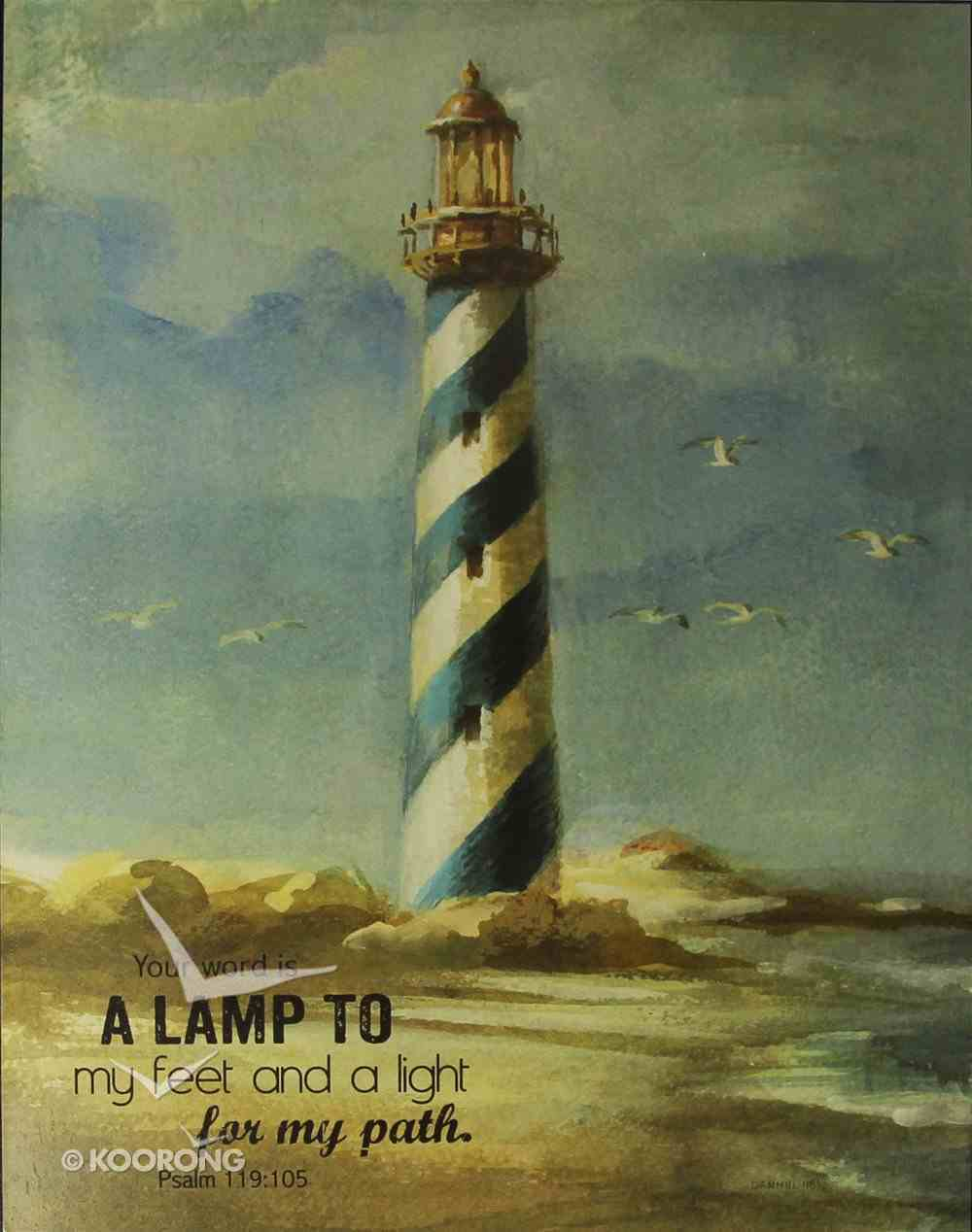 Mounted Print: Lighthouse I, Your Word is a Lamp to My Feet Psalm 119:105, on Mdf Board Plaque