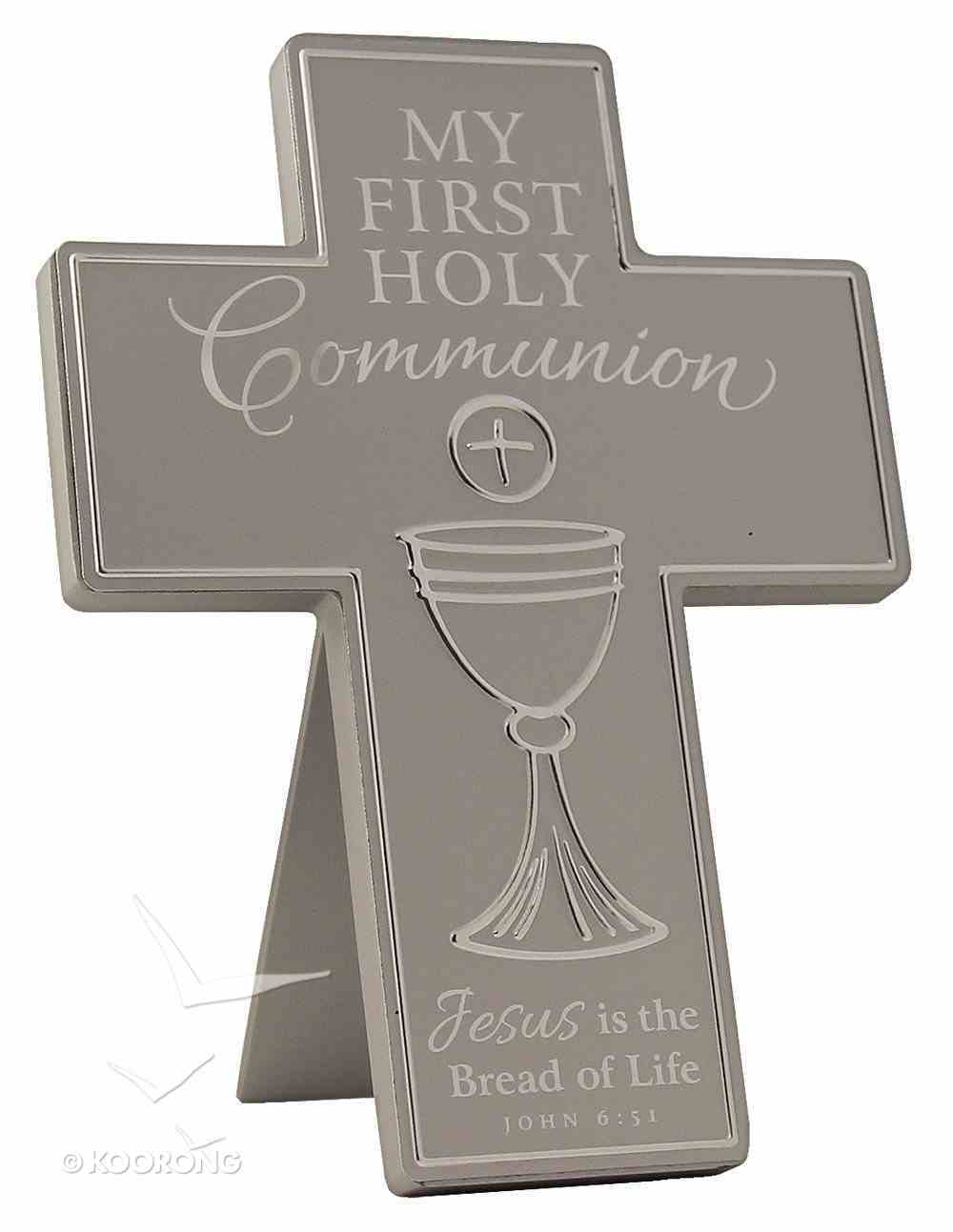 Cross: First Communion: Silver Satin Metal With Raised Symbol Homeware