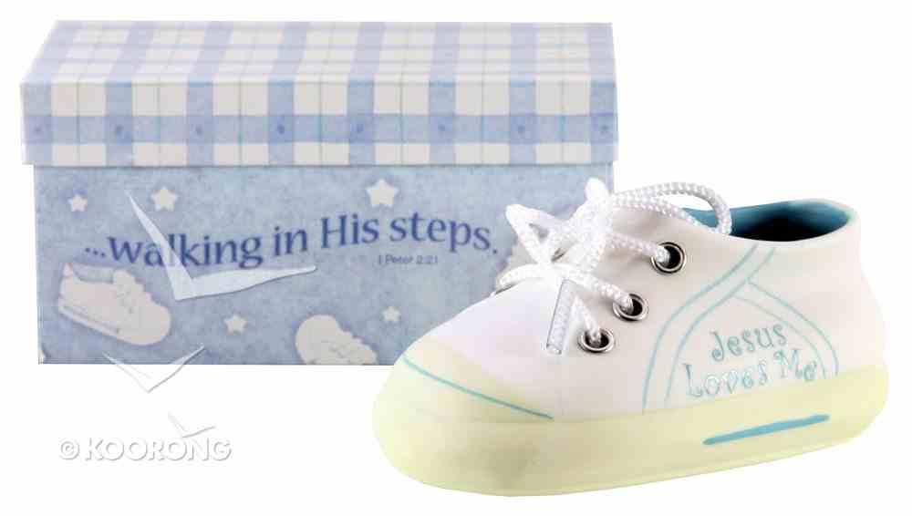 Ceramic Baby Shoe For Boys: Jesus Loves Me, Blue Homeware