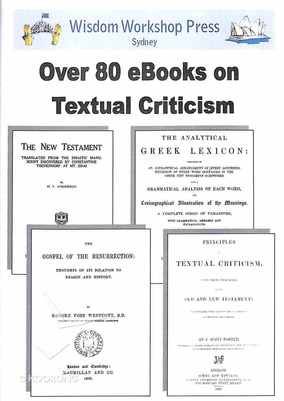 Wisdom Workshop: Over 80 Books on Textual Criticism (Cd-rom) CD-rom