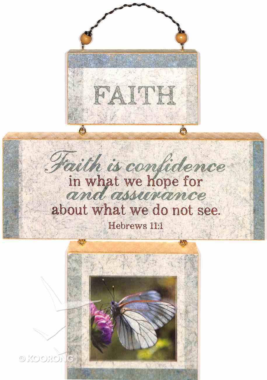 Cross Shaped Three Piece Mdf Wall Plaque: Faith, Hebrews 11:1 (Crosswords) Plaque