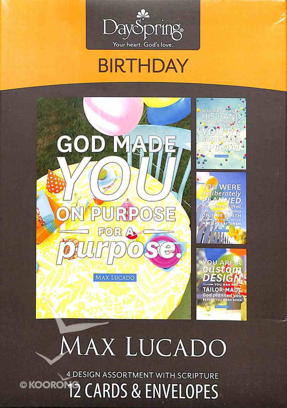 Boxed Cards Birthday: Max Lucado - God Made You on Purpose, For a Purpose Box