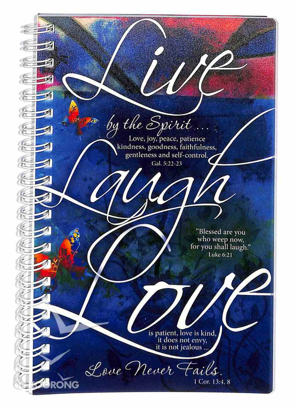 Frosted Spiral Bound Notebook: Live Laugh Love, Love Never Fails 1 Corinthians 13:4-8 Spiral