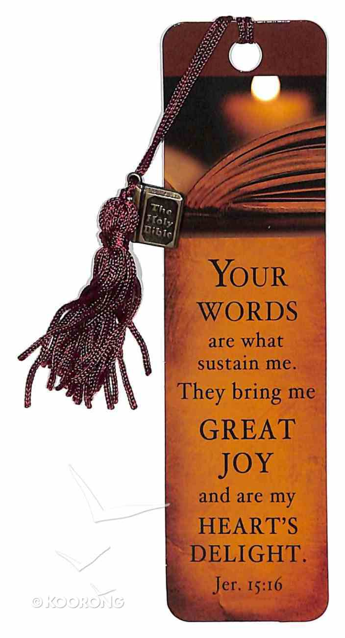 Bookmark With Charm: Your Words Are What Sustain Me, Jer 15:16 Stationery
