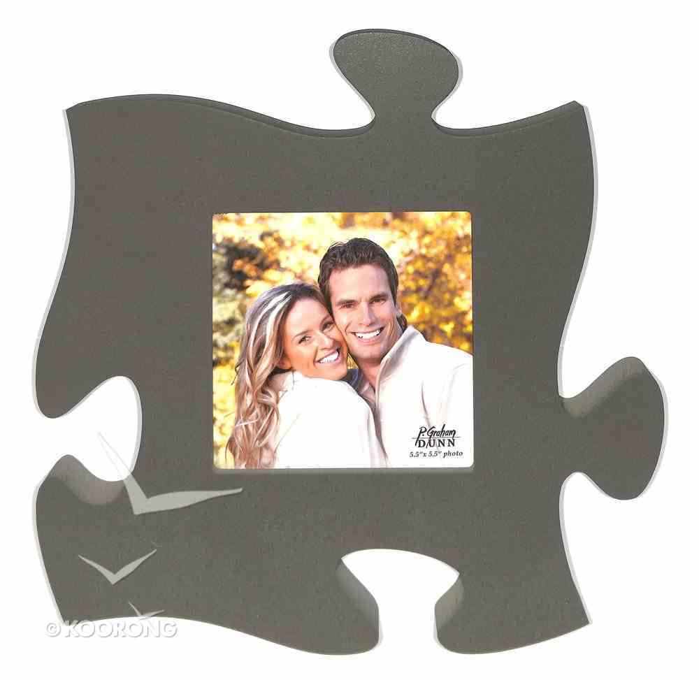 Puzzle Pieces Wall Art: Grey (Hold 1 5.5 X 5.5 Photo) Plaque