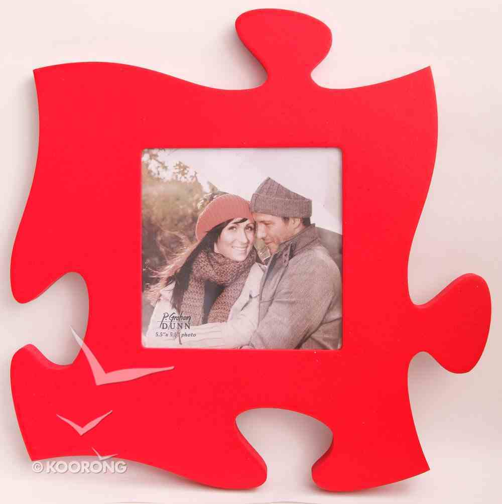 Puzzle Pieces Wall Art: Red (Holds 1 5.5 X 5.5 Photo) Plaque