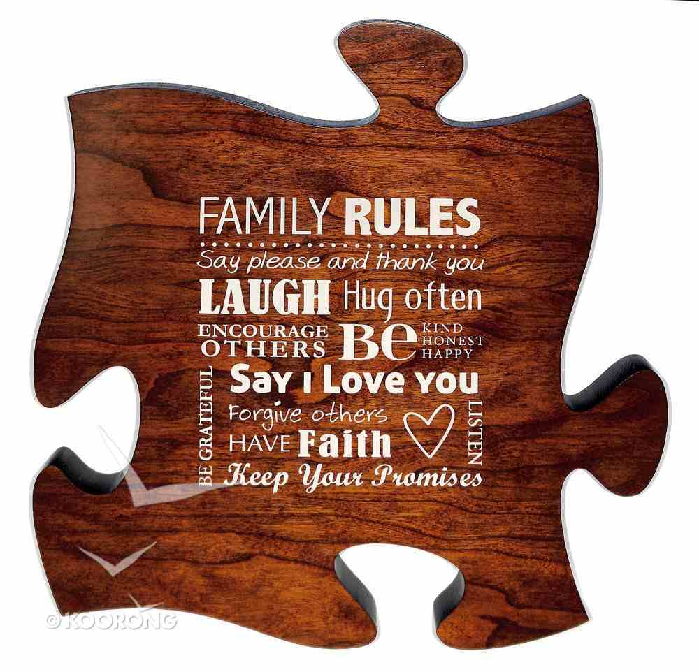 Puzzle Pieces Wall Art: Family Rules (Dark Cherry) Plaque