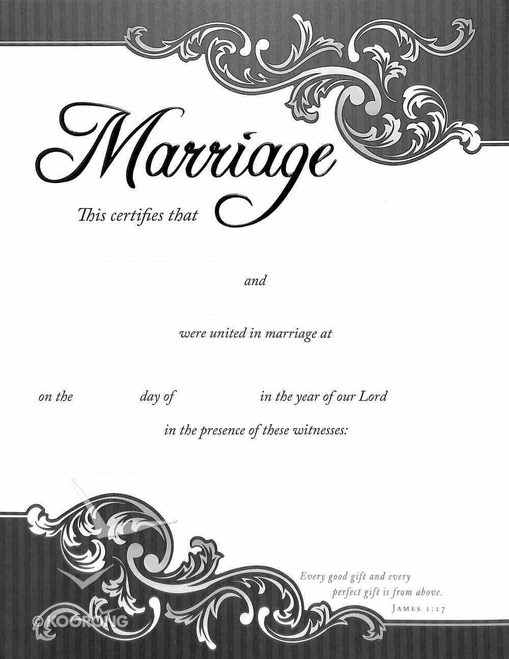 Certificate: Marriage Black Embossing (Black/white Swirls) Stationery