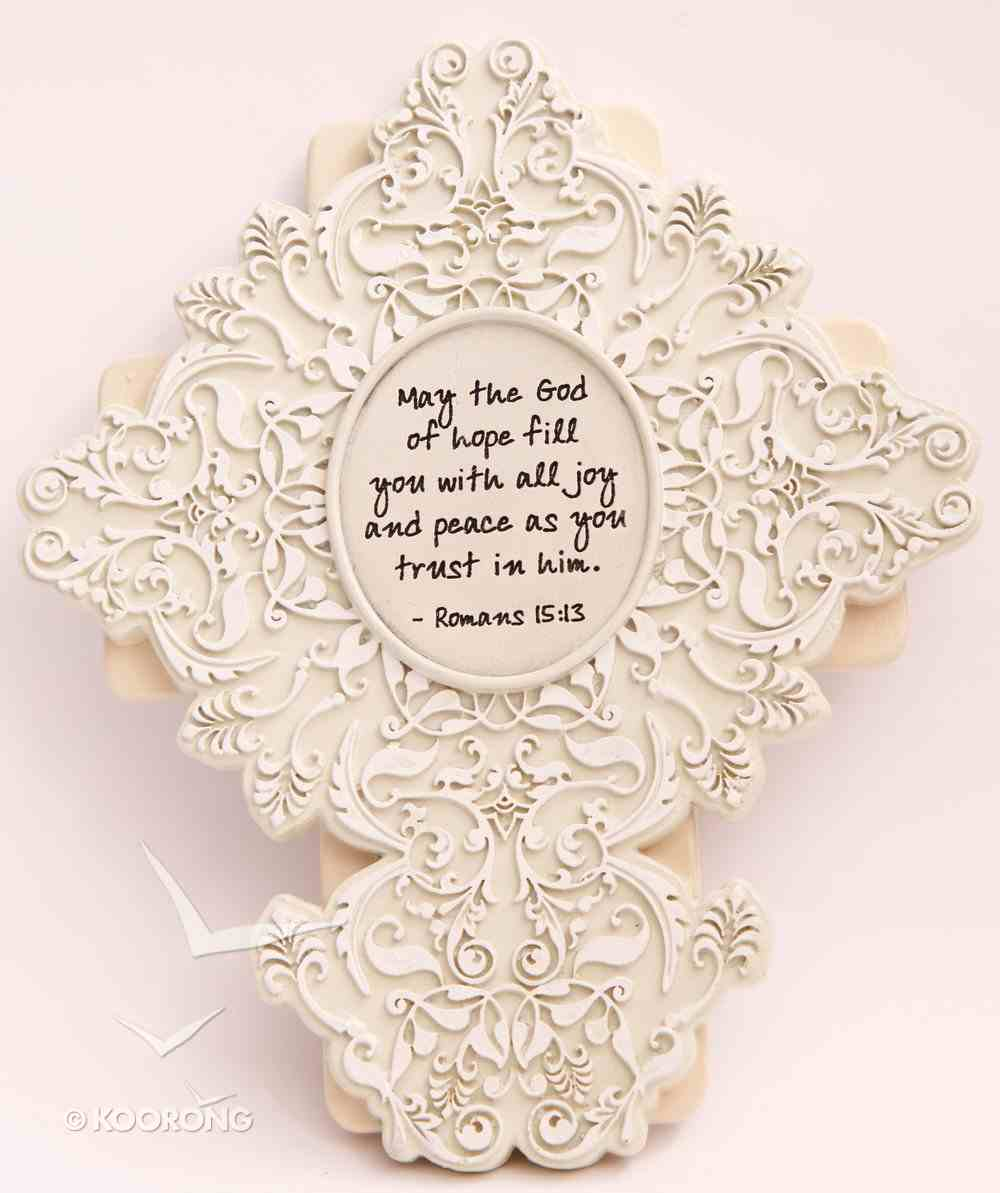 "Shabby Chic 6.75"" Sculpted Resin Cross: Romans 15:13 Plaque"